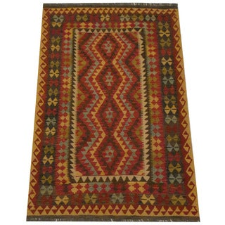 Herat Oriental Afghan Hand-woven Tribal Wool Kilim (4'8 x 6'11)