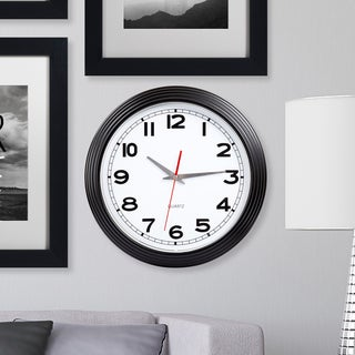 Clay Alder Discovery 15 Inch Retro Style Wall Clock - Black