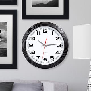Everyday Home 15 Inch Retro Style Wall Clock - Black|https://ak1.ostkcdn.com/images/products/12875288/P19635642.jpg?impolicy=medium