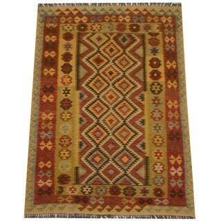 Herat Oriental Afghan Hand-woven Tribal Wool Kilim (4'11 x 6'10)