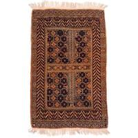 eCarpetGallery Finest Mouri Black/Orange Wool hand-knotted Oriental Rug (2'11 x 4'9)