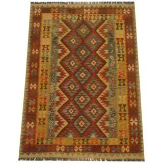 Herat Oriental Afghan Hand-woven Tribal Wool Kilim (5' x 7')