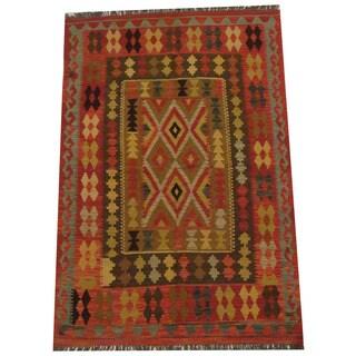 Herat Oriental Afghan Hand-woven Tribal Wool Kilim (4'5 x 6'7)