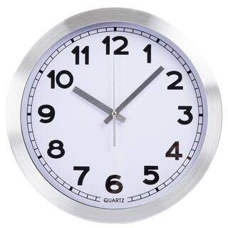 Everyday Home 12 Inch Brushed Aluminum Wall Clock|https://ak1.ostkcdn.com/images/products/12875296/P19635643.jpg?impolicy=medium