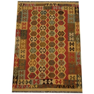 Herat Oriental Afghan Hand-woven Tribal Wool Kilim (4'11 x 7')