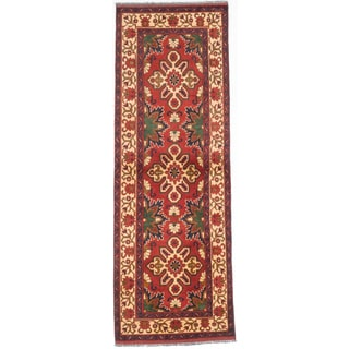 eCarpetGallery Red Wool Hand-knotted Rug (3'1 x 8'9)