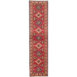 Hand-knotted Finest Kargahi Red Wool Rug - 2'9 x 11'3