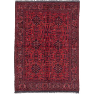 eCarpetGallery Finest Khal Mohammadi Red/Black Wool Hand-knotted Oriental Area Rug (4'11 x 6'11)
