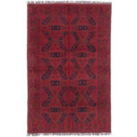 eCarpetGallery Black/Red Wool Hand-knotted Khal Mohammadi Rug (4'0 x 6'2)