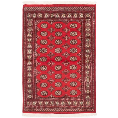 eCarpetGallery Finest Peshawar Bokhara Red Wool Hand-knotted Rug (4'2 x 6'3)