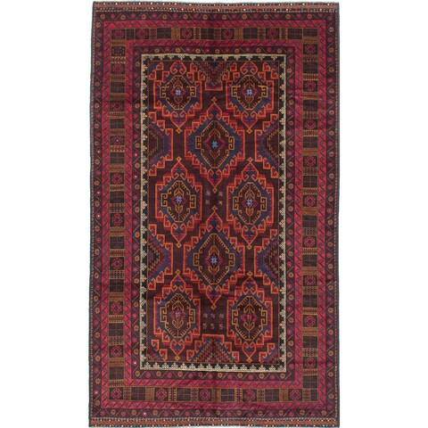 eCarpetGallery Hand-knotted Finest Rizbaft Red/Blue/Brown/Black Wool Area Rug (5'9 x 9'9)