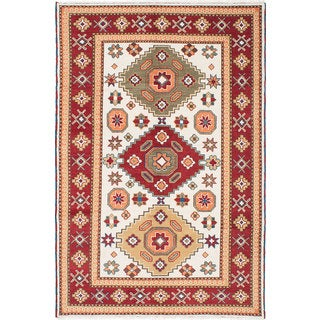 eCarpetGallery Royal Kazak Ivory/Red Wool Hand-knotted Rug (6'9 x 10'0)