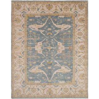 eCarpetGallery Hand-knotted Royal Ushak Blue Wool Rug (9'3 x 11'10)