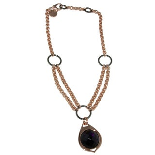 Isla Simone - 18 Karat Rose Gold Electroplated Ring Link Necklace With Faceted Amethyst