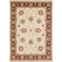 eCarpetGallery Hand-knotted Chubi Collection Ivory Wool Rug (4'1 x 5'9)