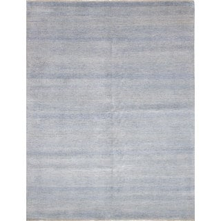 eCarpetGallery Bamboo Shevra Blue 50% Wool/50% Viscose from Bamboo Hand-knotted Rug (9'0 x 11'9)