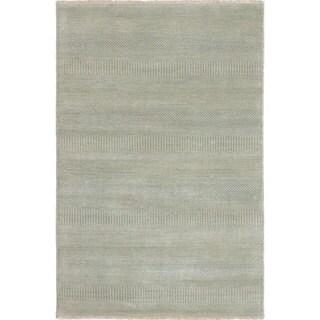 "ECARPETGALLERY Hand-Knotted Shevra Blue Wool Rug (4'0 x 6'0) - 4'0""x6'0"""