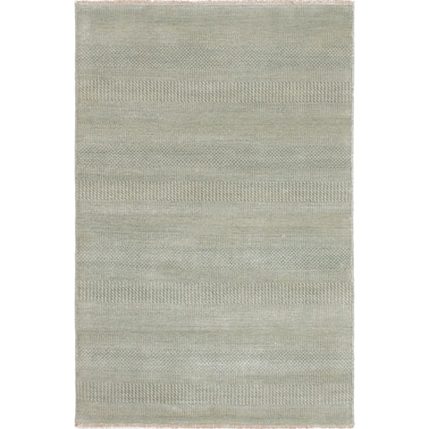 "ECARPETGALLERY Hand-Knotted Shevra Blue Wool Rug (4'0 x 6'0) - 4'0""x6'0"""