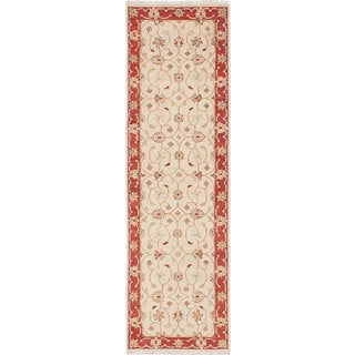eCarpetGallery Chubi Collection Ivory Wool and Cotton Hand-knotted Oriental Runner Rug (2'4 x 8'1)