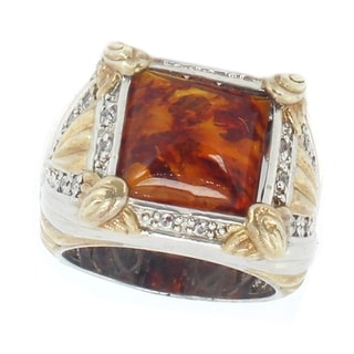 One-of-a-kind Michael Valitutti Baltic Amber and White Sapphire Cocktail Ring
