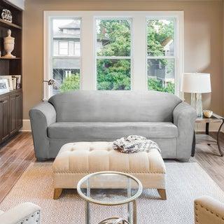 Coverworks Harper Grey Suede 2-piece Stretch Sofa Slipcover