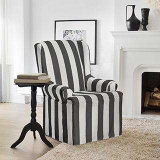 Havanna Grey Polyester Striped Wing Chair Slipcover