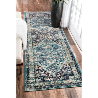 nuLOOM Traditional Flower Medallion Aqua Runner Rug (2'6 x 8')