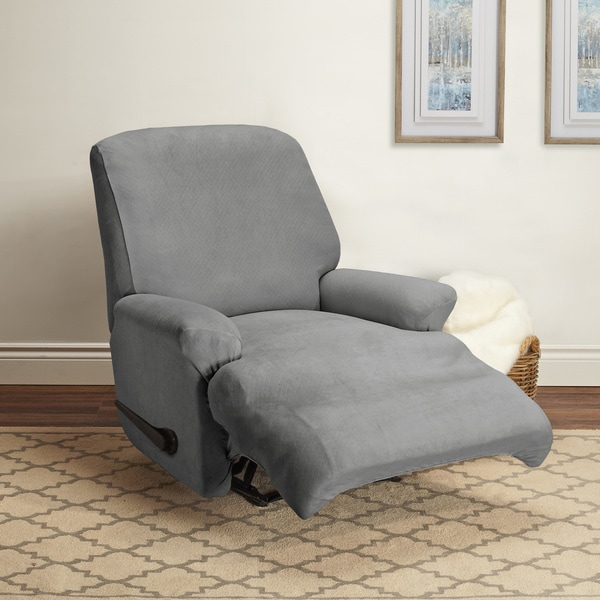 shop coverworks estelle grey 4 piece stretch recliner slipcover free shipping today. Black Bedroom Furniture Sets. Home Design Ideas