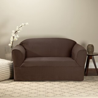 Bayleigh Brown 1-piece Wrap-style Loveseat Slipcover