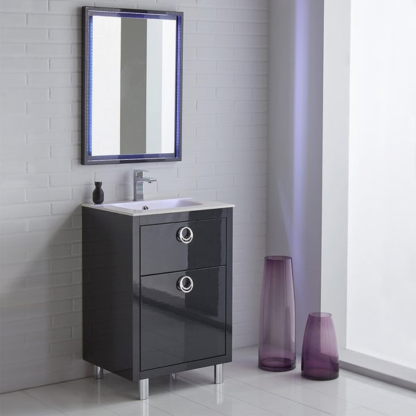 Shop Fresca Platinum Due 24 Inch Glossy Cobalt Bathroom Vanity Free Shipping Today Overstock