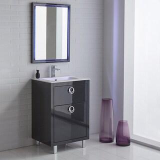 Fresca Platinum Due 24-inch Glossy Cobalt Bathroom Vanity