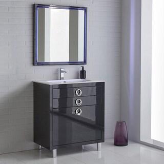 Fresca Platinum Due 32-inch Glossy Cobalt Bathroom Vanity