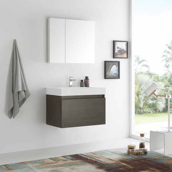 Shop Fresca Mezzo Gray Oak 30 Inch Wall Hung Modern Bathroom Vanity With Medicine Cabinet Free