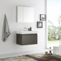 Fresca Mezzo Gray Oak 30-inch Wall Hung Modern Bathroom Vanity with Medicine Cabinet