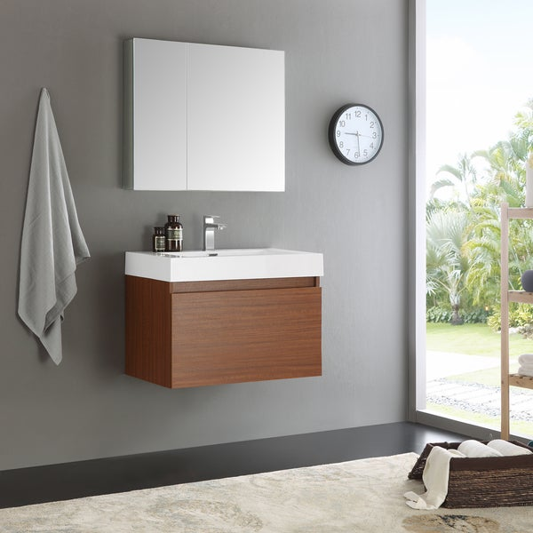 Fresca Mezzo Teak 30 Inch Wall Hung Modern Bathroom Vanity With Medicine  Cabinet