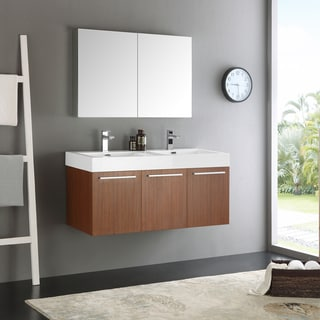 Fresca Vista Tan Acrylic and Resin 48-inch Double Sink Bathroom Vanity With Medicine Cabinet