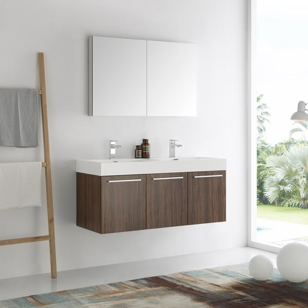 Shop Fresca Vista Walnut 48 Inch Wall Hung Double Sink Modern Bathroom Vanity With Medicine