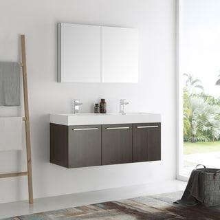 Fresca Vista Gray Oak 48-inch Wall Hung Double Sink Modern Bathroom Vanity with Medicine Cabinet