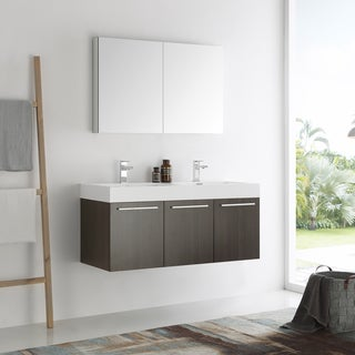 Fresca Vista Gray Oak 48-inch Wall Hung Double Sink Modern Bathroom Vanity with Medicine Cabinet
