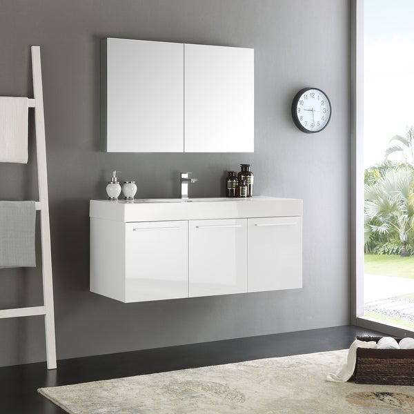 Shop Fresca Vista White Mdf 48 Inch Wall Hung Modern Bathroom Vanity With Medicine Cabinet