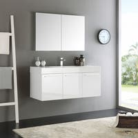 Fresca Vista White MDF 48-inch Wall-hung Modern Bathroom Vanity with Medicine Cabinet