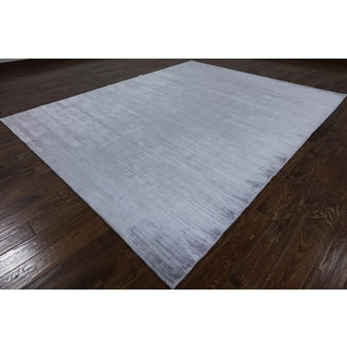Hand-knotted Oriental Gabbeh Grey Silk Rug (8' 2 x 10' 2)