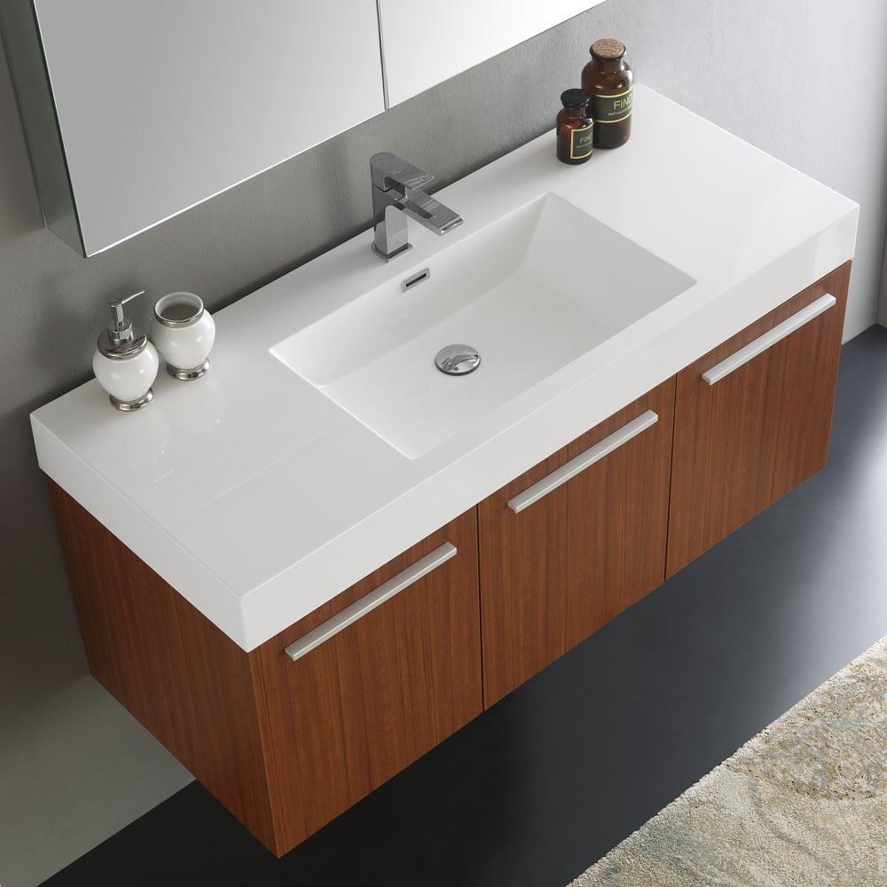 Fresca Vista Teak 48 Inch Wall Hung Modern Bathroom Vanity With Medicine Cabinet Free Shipping Today 12875610