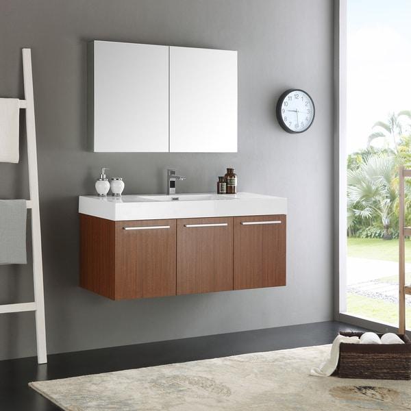 Fresca Vista Teak 48 Inch Wall Hung Modern Bathroom Vanity With Medicine Cabinet