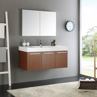 Fresca Vista Teak 48-inch Wall Hung Modern Bathroom Vanity with Medicine Cabinet