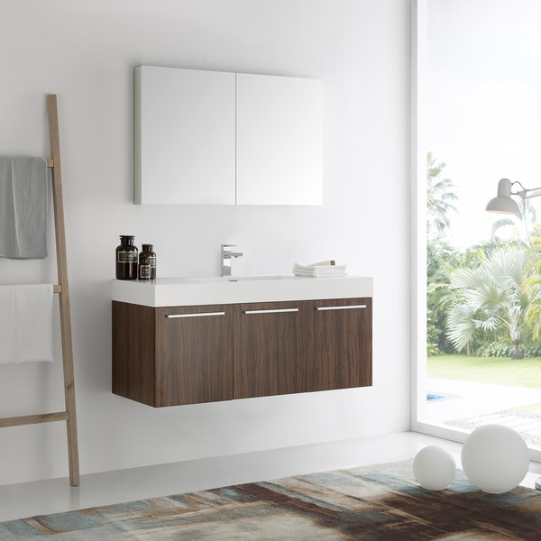 Fresca Vista Walnut 48-inch Wall Hung Modern Bathroom Vanity with Medicine Cabinet