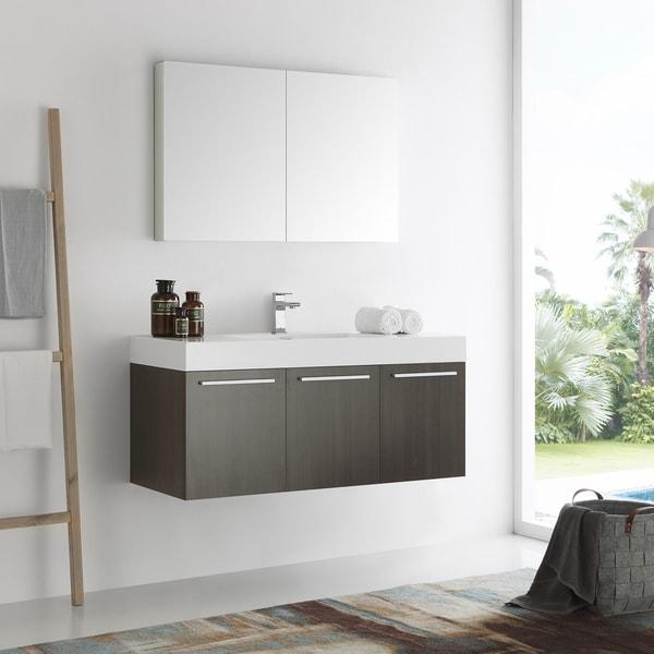 Fresca Vista 48-inch Gray Oak Wall Hung Modern Bathroom Vanity with Medicine Cabinet