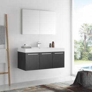 Fresca Vista Black 48-inch Wall Hung Modern Bathroom Vanity with Medicine Cabinet