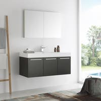 Fresca Vista Black 48-inch Wall Hung Modern Bathroom Vanity with Medicine Cabinet