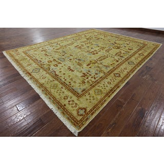 Hand-knotted Oriental Peshawar Ivory Wool Rug (9' 1 x 11')